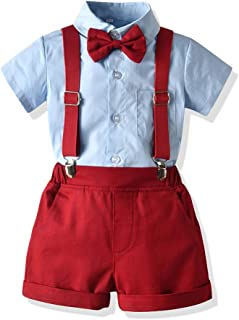 Moyikiss Studio Toddler Boys Clothes Short Sleeve Bowtie Shirt+Straps Shorts Outfits Suits Gentleman Tuxedos