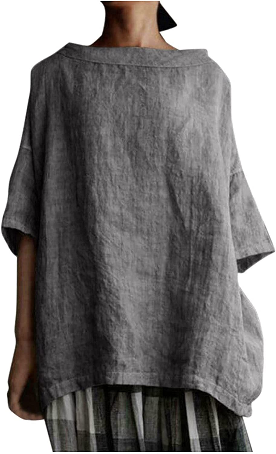 Women's Plus Size 3/4 Sleeve Tees Cotton Linen Tops Loose Solid Color Casual Shirt Crewneck Comfortable Tunic Blouses