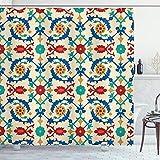 ABAKUHAUS marokkanisch Duschvorhang, Ethnic Barock Floral, Moderner Digitaldruck mit 12 Haken auf Stoff Wasser & Bakterie Resistent, 175 x 200 cm, Multicolor