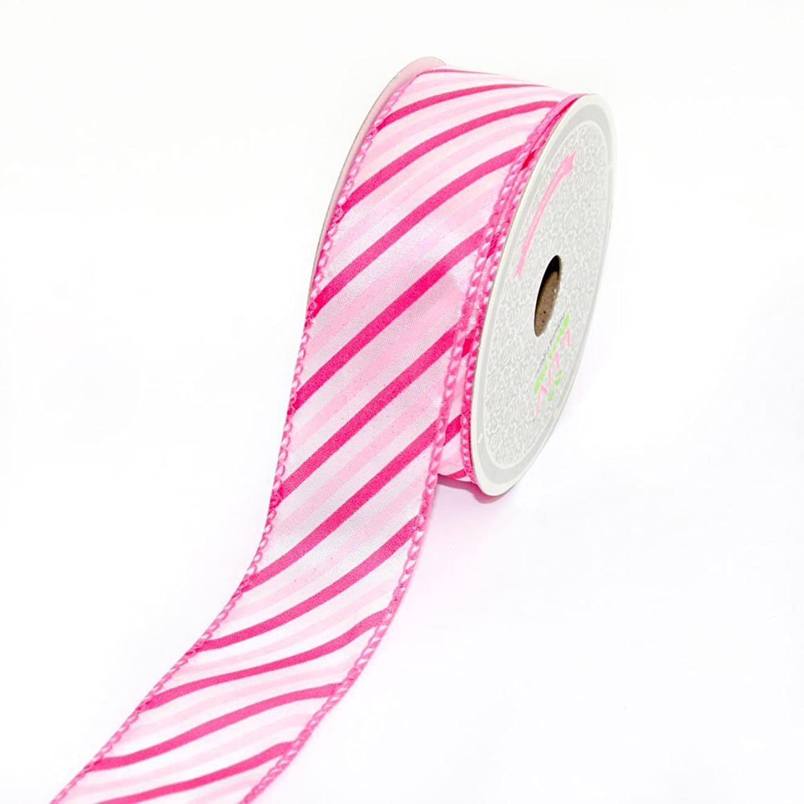 LUV RIBBONS by Creative Ideas 1-1/2-Inch Multicolor Summer Stripes Ribbon, 10-Yard, Hot Pink