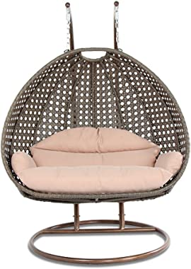 Island Gale Luxury 2 Person Outdoor Patio Hanging Wicker Swing Chair ( X-Large, Latte Rattan/Latte Cushion)