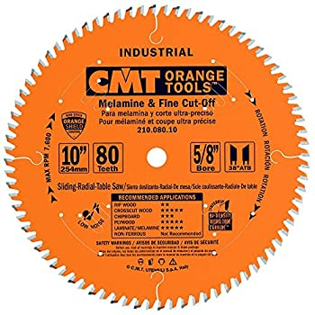 CMT 210.080.10 Industrial Fine Cut-Off Saw Blade 10-Inch x 80 Teeth 38° ATB Grind with 5/8-Inch Bore PTFE Coating