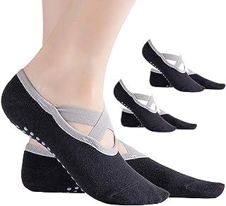 KINDOYO Black Yoga Socks - Ballet Pilates Dance Non Slip Socks with Grips for Women Girl