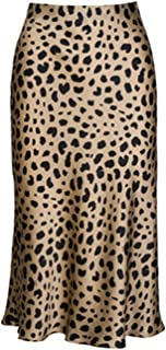 Pajamasea High Waist Leopard Midi Skirt Hidden Elasticized Waistband Silk Satin Skirts