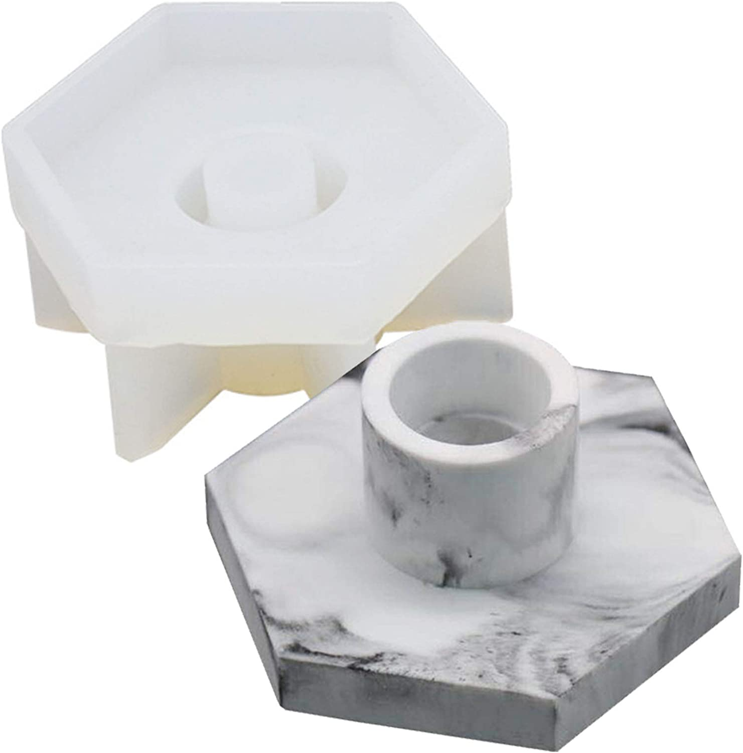 KCH Very popular lowest price Silicone Mold Candlestick Candle Hexagonal Mould Marble Base