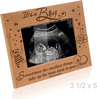Kate Posh Baby Engraved Wood Picture Frame - Sometimes The Smallest Things take up The Most Room in Your Heart - Winnie The Pooh Sonogram Picture Frame, New Mom, New Dad (3 1/2 x 5 - It's a Boy)