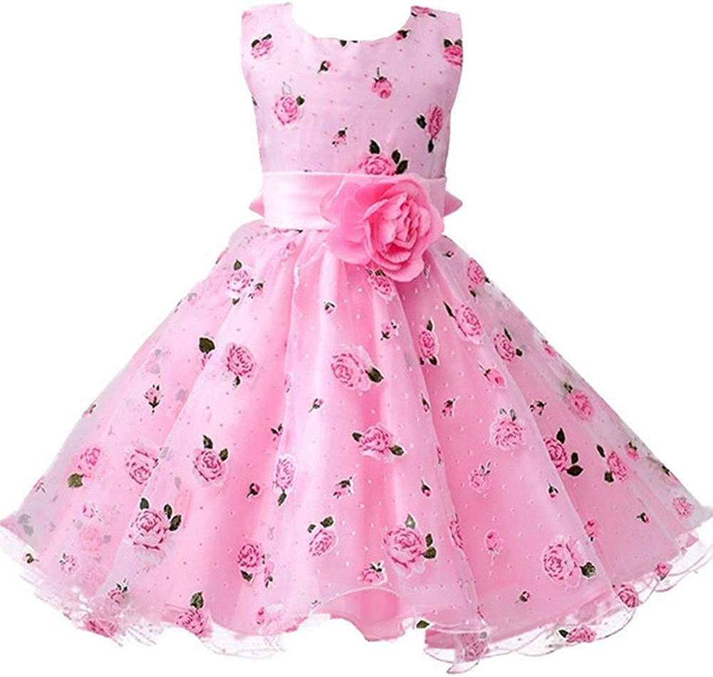 Berngi Baby Girls Birthday Dresses Floral Flower Wedding Princess Party Pageant Formal Dress Kids Cotton Evening Gowns