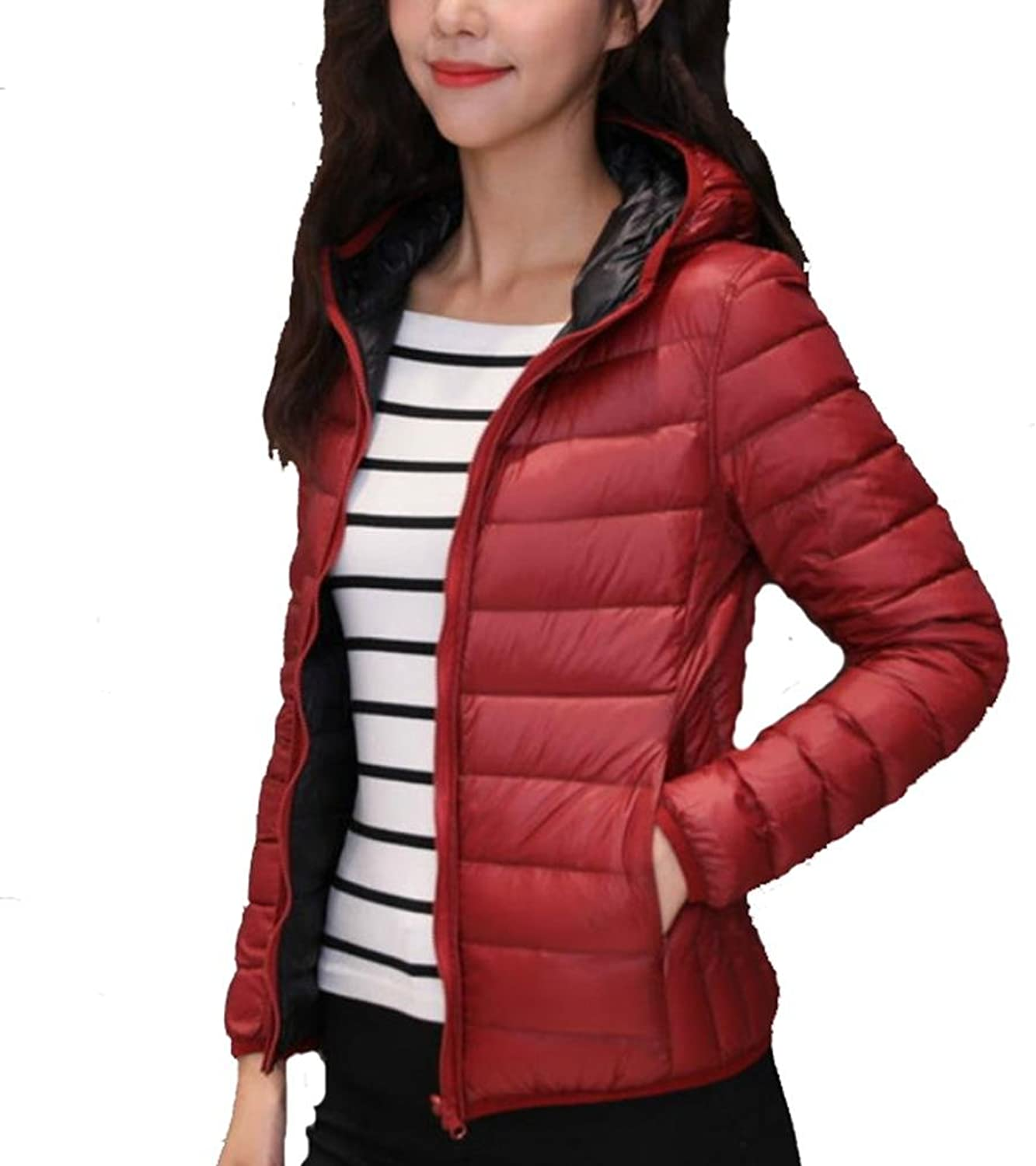 YANXH Autumn And Winter The New Both Sides Wear Down Jacket Ms Short Section Light And Thin Hooded Coat