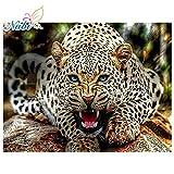 FHGFB Diamante Pintura DIY 5d Diamante Completo Animal Bordado Leopardo Mosaico Diamante Pintura Diamante -40x50cm Sin Marco