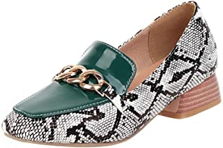 TAOFFEN Women Casual Low Heel Pumps Square Toe
