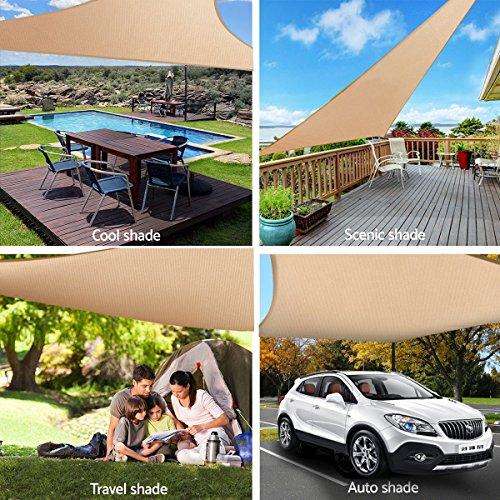 king do way Voile d'Ombrage, Voile de Soleil Triangulaire Sable Anti UV en HDPE pour Jardin/Patio/Terrasse/Balcon, 160G 5 x 5 x 5M