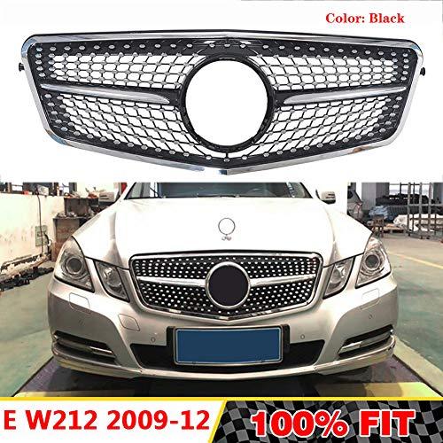 LSYBB Frontgrill Diamant Kühlergrill ABS-Grill geeignet für Mercedes Benz E-Klasse W212 E300L E400L E200 E350 2009-2012,Black