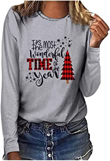VOWUA Womens Christmas Print Tops Classic Casual Plus Size Round Neck Long Sleeve T-Shirt Blouse