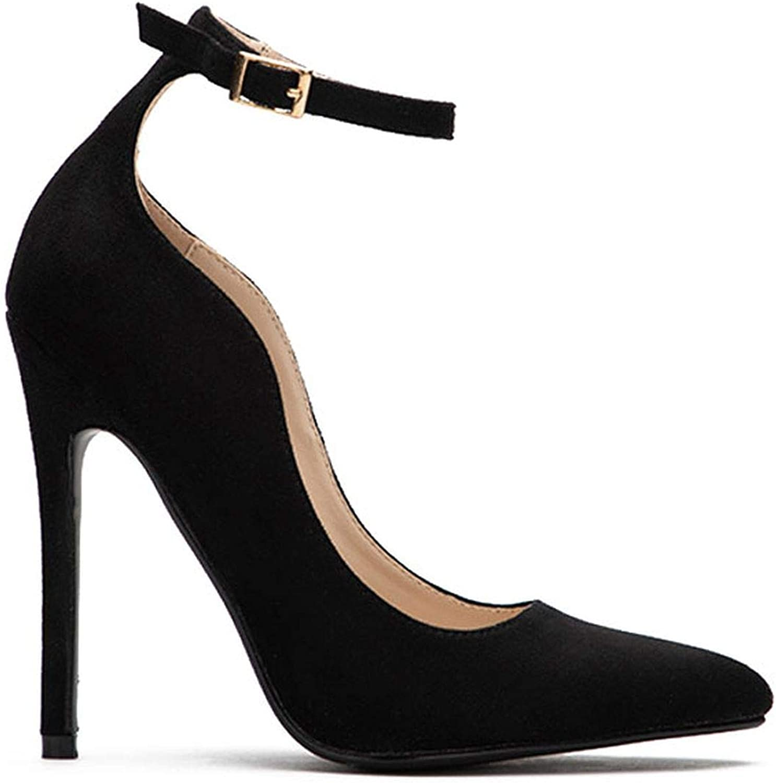 Ladies Flock Curve Pumps Pointed Toe Buckle Strap Super High Heels for Wedding014C1293-49
