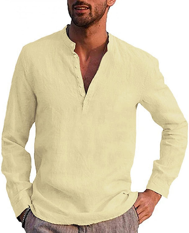 KEEYO Mens Cotton Linen Henley Shirts V-Neck Long Sleeve Hippie Casual Beach Yoga T-Shirts Vintage Band Collar Plain Tee