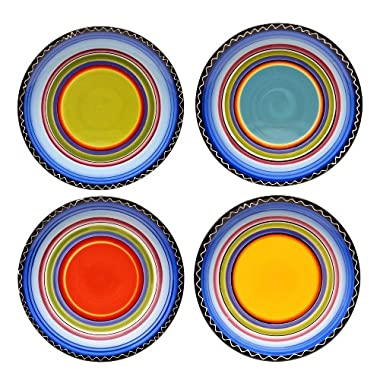 Certified International Tequila Sunrise Dinner Plate, 11-Inch, Assorted Designs, Set of 4