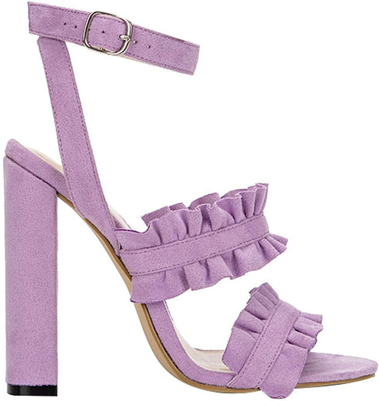 JIESENGTOO Women Ruffles Sandals PU Square Heel Solid Fashion Buckle Strap Ladies Heeled shoes