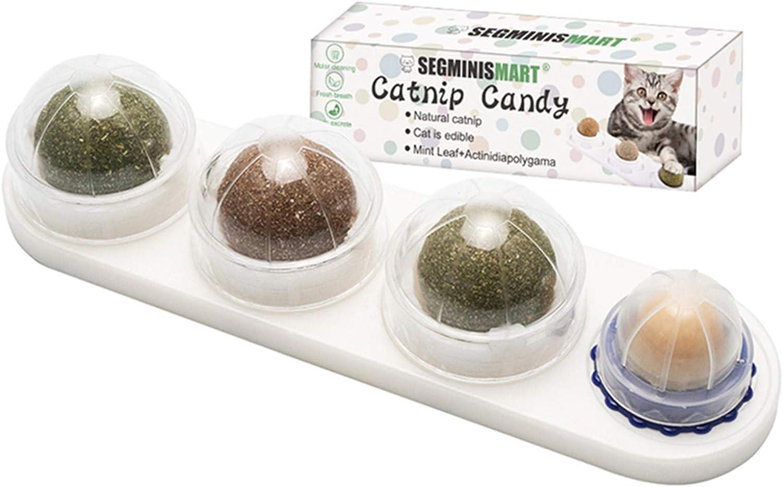 Cat Snacks Candy, Bola de Menta Natural para Gatos, Juego de bolas de hierba gatera, Juegos de Catnip 4 en 1,de Gato Interactivos Rotatorios de Hoja de Menta Natural Pura, Limpieza de dientes