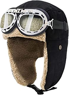 Vintage Aviator Hat and Goggles Costume Accessories Winter Snowboard Fur Ear Flaps Trooper Trapper Pilot Cap Motorcycle Goggles for Men Women Kids Youth
