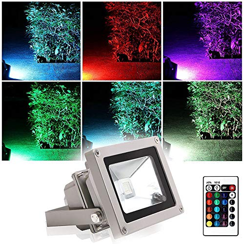 Blinngo10W RGB LED Flood Light Outdoor, 16 Color Changing RGB Floodlight with Remote, Warm White to Daylight Tunable, IP65 Waterproof 4 Modes Dimmable Stage Lighting with US 3-Plug