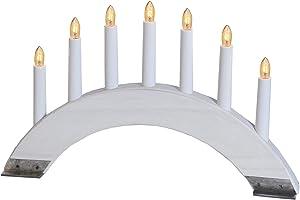 Best Season 24 7-38 Viking Bow - Candelabro (7 puntos de luz, madera y metal, 27 x 42 cm), color blanco