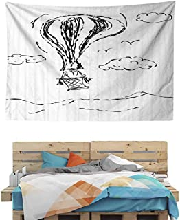 HuaWuChou Hot Air Balloon Clouds Tapestry, Indian Dorm Decor for Living Room Bedroom, 36W x 24L Inches