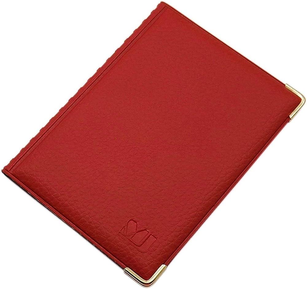 Myledershop, porta carte di credito, porta documenti, in pelle sintetica, rosso2