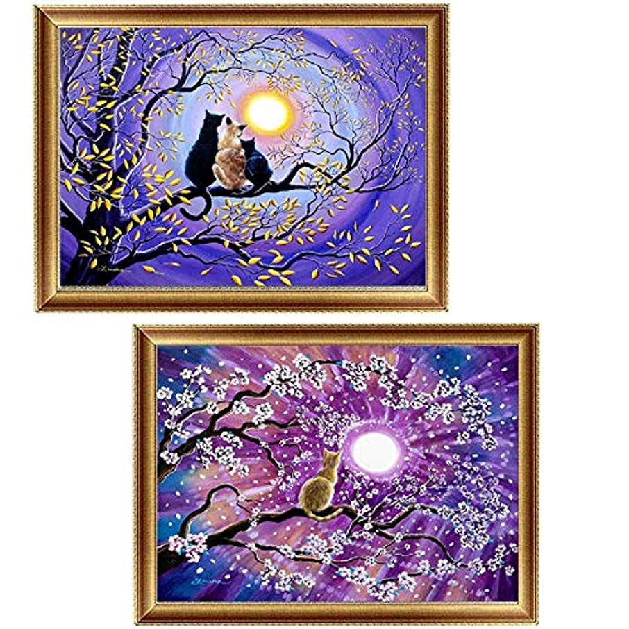 2 Pack DIY 5D Diamond Painting Kits, Full Diamond Animal Resin Cross Stitch Kit, Crystals Rhinestone Embroidery Arts Craft Supply for Home Wall Decor, 11.8 x 15.7 Inch (Cats)