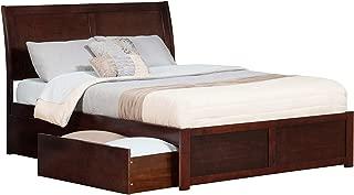 Atlantic Furniture Portland Platform Bed with 2 Urban Bed Drawers, King, Walnut