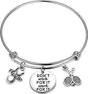 CHOORO Tennis Lover Gift Tennis Racket Bracelet Don't Wish for It Work for It Gift for Tennis Player/Tennis Team