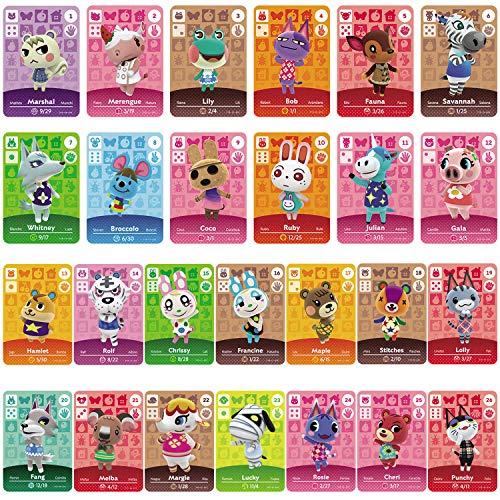 TPLGO 24 Pz ACNH NFC Tag Mini Gioco Carte Rare Personaggio Villico per New Horizons, Carte da Gioco Serie 1-4 per Switch / Switch Lite / Wii U / New 3DS con custodia