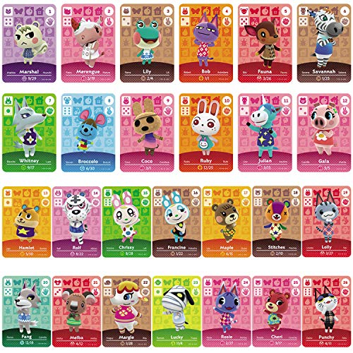 TPLGO 26 Pcs ACNH NFC Tag Mini Game Rare Character Villager Cards for New Horizons, Game Cards Series 1-4 for Switch/Switch Lite/Wii U/New 3DS with Storage Case