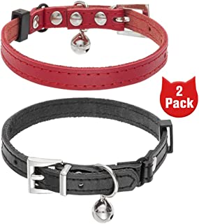 BINGPET Leather Cat Collar with Bells - 2 Pack Soft Adjustable Genuine Leather Kitten Collars, Come with Movable Rhineston...