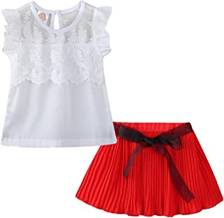 LittleSpring Little Girls' Skirt Set Summer Sleeveless