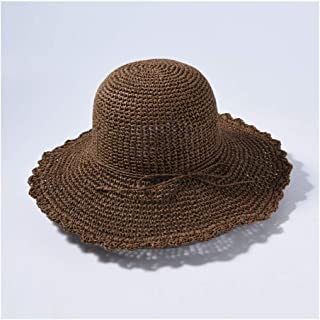SHENLIJUAN New Straw hat hat Solid Color Wild Big Straw hat Female Travel Beach hat Sun hat (Color : Coffee)