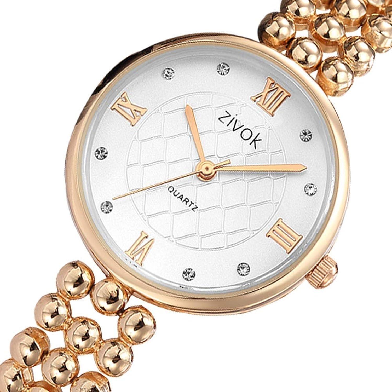 Watch Women's Stainless Steel Brecelet Quartz Watch, Fashion Watch (color   gold)