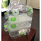 4 Level Hamster Habitat Mice Mouse Cage with Large Top Exercise Balll 25' Height (Green)