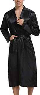 Hawiton Men Stain Bathrobe Nightwear Dressing Gown,Silk Satin Robe Long Bathrobe Lightweight Dressing Gowns