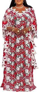 فستان Afircan طويل للأرض عالي الدقة للنساء فستان شيفون مخطط ملون مقاس واحد