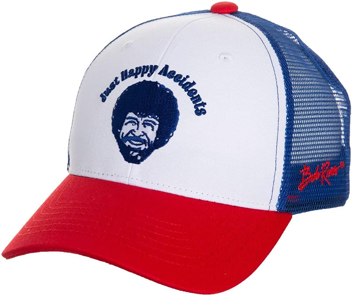 Calhoun Officially Licensed Bob Ross Just Happy Accidents Multicolored Trucker Cap