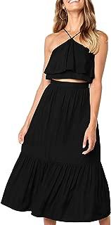 Women's Elegant Halter Backless Ruffle Crop Top High Waist Maxi Skirt Set 2 Piece