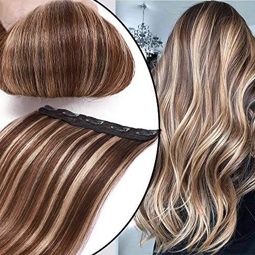 Extension Clip Capelli Veri Fascia Unica Meches One Piece Hair Extensions Remy Human Hair Naturali Umani Lisci Lunghi (20' 50cm 50g 4/27 Marrone Cioccolato/Biondo Scuro)