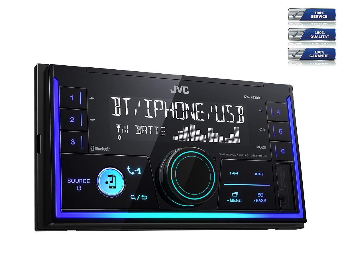 2008-2013 JVC Radio KWX830BT 2 DIN Bluetooth Spotify mit Einbauset f/ür Hyundai i10 PA