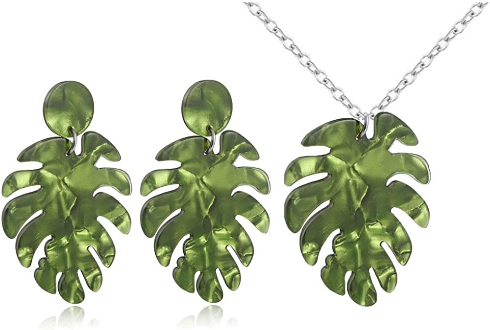 Jeni-Sely Multi-Color Acrylic Monstera Leaf Earrings,Palm Leaf Women Girl's Statement Necklace Jewelry Set