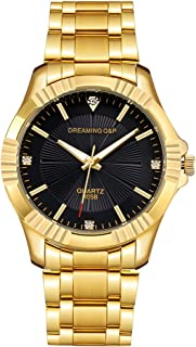 Fq-005 Classic Style Gold Stainless Steel Mens Wrist Watches with Crystals for Man