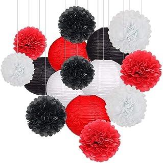 Juego de 15 farolillos de Papel para Fiestas y Pompones para decoración de Halloween, Bodas o cumpleaños, Color Negro, Rojo y Blanco