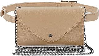 Women's Fashion Elegant Leather Brown Waist Fanny Belt Crossbody Pack Bags With Purse Pocket Stylish For Girls Women (Beige)