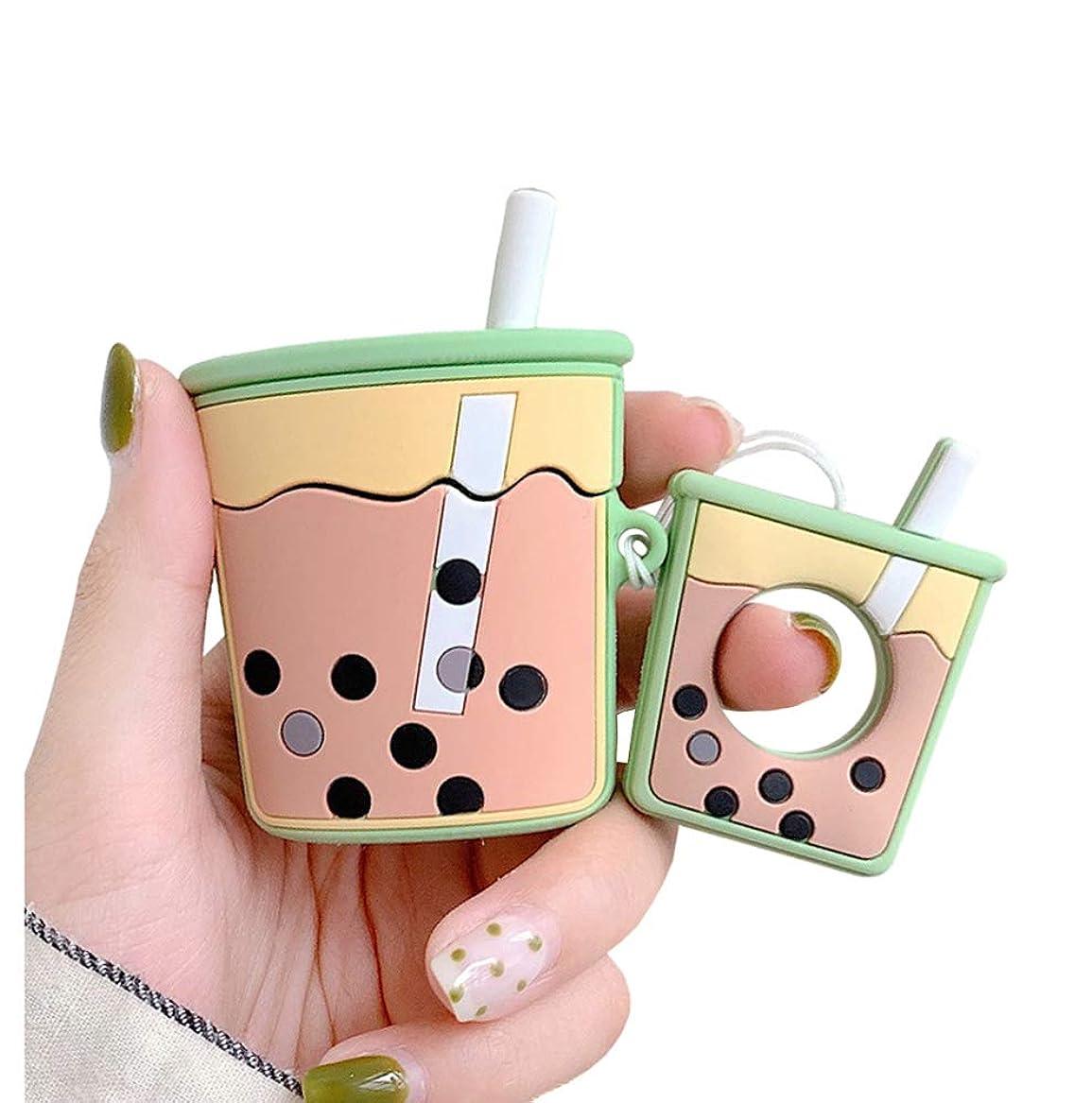 戦争モート進むUnnFiko スーパーキュート バブルティー Airpodsケース 3D 漫画 ソフトシリコン 保護ミニバッグ キュート クリエイティブ Airpods 1 & 2 充電カバー フィンガーループ付き Airpods?1 & 2