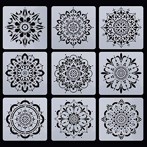 SUSSURRO Schablonen Mandala 9 Blatt Wiederverwendbar Mandala Dotting Malerei Schablonen Zeichenschablonen Muster Kunstwerkzeuge für Steine Keramik 15 * 15cm