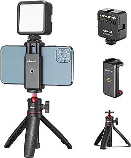 Ulanzi MT-08 三脚 自撮り棒 ビデオVLOG三脚 伸縮 ZV-1 RX100 M1-M6 A6400 A6500 A6600 Canon G7X Mark IIIなどのカメラに対応 (三脚+クリップ+LED)